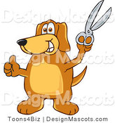 Clipart of ABrown Dog Mascot Cartoon Character Holding Scissors - Royalty Free by Toons4Biz