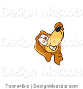 Clipart of ABrown Dog Mascot Cartoon Character Peeping - Royalty Free by Toons4Biz