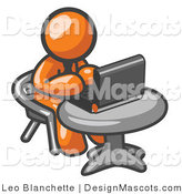 Clipart of an Orange Businessman Using a Laptop at an Internet Cafe - Royalty Free by Leo Blanchette