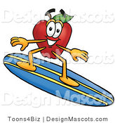 Clipart of ARed Apple Character Mascot Surfing - Royalty Free by Toons4Biz