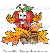 Clipart of ARed Apple Character Mascot with Acorns - Royalty Free by Toons4Biz