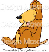 Clipart of ATired Brown Dog Mascot Cartoon Character - Royalty Free by Toons4Biz