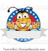 Clipart of Bee Mascot Cartoon Character with Stars on a Label- Royalty Free by Toons4Biz
