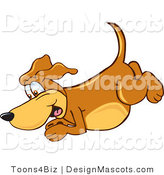 Clipart OfBrown Dog Mascot Cartoon Character Diving - Royalty Free by Toons4Biz