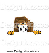 Clipart Picture of a Chocolate Candy Bar Mascot Peeking over a Surface by Toons4Biz