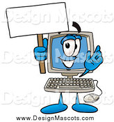 Clipart Picture of a Desktop Computer Mascot Holding a Blank Sign by Toons4Biz