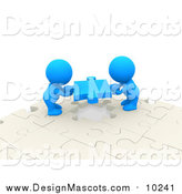 Illustration of 3d Blue People Moving Puzzle Pieces by Andresr