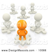 Illustration of 3d White and Orange People Standing on Solution Puzzle Pieces by Andresr