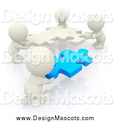 Illustration of 3d White Mascot People Moving Puzzle Pieces by Andresr