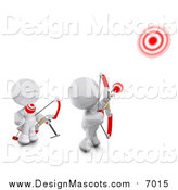 December 7th, 2015: Illustration of 3d White Meta Men Shooting Arrows at Targets with Bows by Leo Blanchette