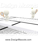 Illustration of 3d White People Playing Tennis by