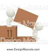 Illustration of 3d White People Working in a Shipping Warehouse by