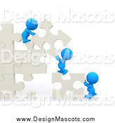 Illustration of a 3d Blue People Moving Puzzle Pieces and Assembling a Wall by Andresr