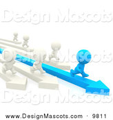 Illustration of a 3d Blue Person Racing White People by Andresr