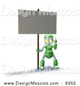 Illustration of a 3d Green Robot Pointing up and Holding a Blank Sign by AtStockIllustration