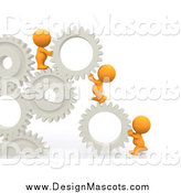 Illustration of a 3d Orange Team of People Working with Gears by