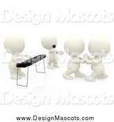 Illustration of a 3d Person Playing a Keyboard, One Singing and a Couple Dancing by