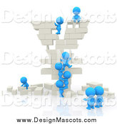 Illustration of a 3d Team of Blue People Building a Yen Symbol out of White Bricks by Andresr