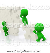 Illustration of a 3d Team of Green People Building a Wall of Puzzle Pieces by