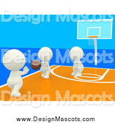 Illustration of a 3d Team of White People Playing Basketball by