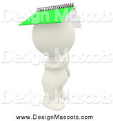Illustration of a 3d Thinking White Person with a Spiral Notebook on His Head by