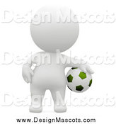 Illustration of a 3d White Athlete Standing with a Soccer Ball by