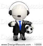 Illustration of a 3d White Business Dude Wearing a Headset Pointing and Holding a Soccer Ball by