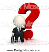 Illustration of a 3d White Businessman with a Big Question Mark by Andresr