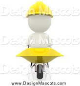 Illustration of a 3d White Construction Worker Pushing a Wheelbarrow by Andresr