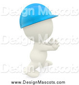 Illustration of a 3d White Contractor Wearing a Hardhat by
