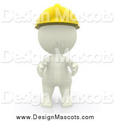Illustration of a 3d White Contractor Wearing a Hardhat by Andresr