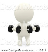 Illustration of a 3d White Guy Lifting Weights by