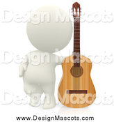 Illustration of a 3d White Guy Standing with a Guitar by