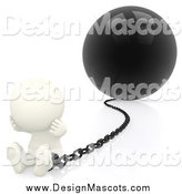 Illustration of a 3d White Guy Stuck and Sitting near a Ball and Chain by Andresr