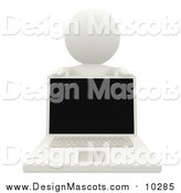 Illustration of a 3d White Man Behind a Laptop Computer by