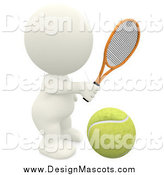 Illustration of a 3d White Man Playing Tennis by