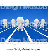 Illustration of a 3d White People Racing on a Blue Track by