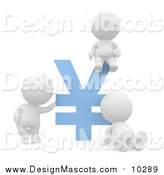 Illustration of a 3d White People with a Blue Yen Symbol by