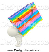 Illustration of a 3d White Person Carrying a Colorful Shopping Bag by Andresr