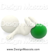 Illustration of a 3d White Person Exercising with a Yoga Ball by