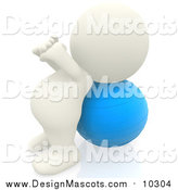 Illustration of a 3d White Person Exercising with a Yoga Ball by Andresr