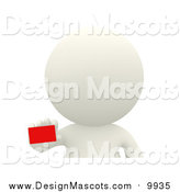 Illustration of a 3d White Person Holding a Small Red Gift by Andresr