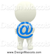 Illustration of a 3d White Person Holding an Email at Symbol by Andresr