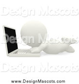 Illustration of a 3d White Person on the Floor, Using a Laptop by