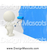 February 18th, 2014: Illustration of a 3d White Person Painting a Wall Blue by Andresr