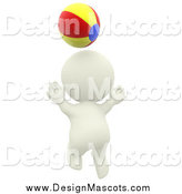 Illustration of a 3d White Person Playing with a Beach Ball by