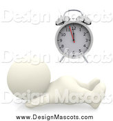 February 28th, 2014: Illustration of a 3d White Person Snoozing by an Alarm Clock by Andresr