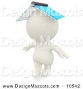 Illustration of a 3d White Person with a Spiral Notebook on His Head by