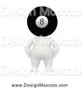 Illustration of a 3d White Person with an Eight Ball Head by