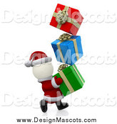 Illustration of a 3d White Santa Carrying Christmas Gifts by Andresr